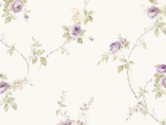 Виниловые обои на бумажной основе напечатаны методом горячего тиснения. Обои металлизированы и имитируют шелковое сияние. Арт.№ 36401 - растительный орнамент с изображением цветов розы в фиолетовом, зеленом и бежевом цвете на светлом фоне. Английские обои, Обои Aura, Каталог обоев, Silks & Textures II, Обои для гостиной, Обои для спальни