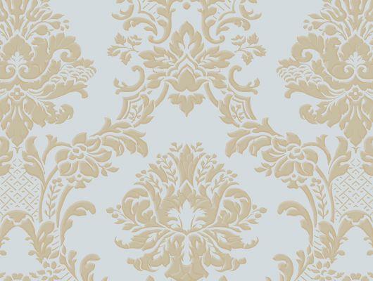 Виниловые обои на бумажной основе напечатаны методом горячего тиснения. Обои металлизированы и имитируют шелковое сияние. Арт.№ 36405 - классический узор широко известных дамассков в масштабе средних размеров и золотом цвете на сером фоне. Обои Aura, Стоимость, заказать доставку., Silks & Textures II, Обои для гостиной