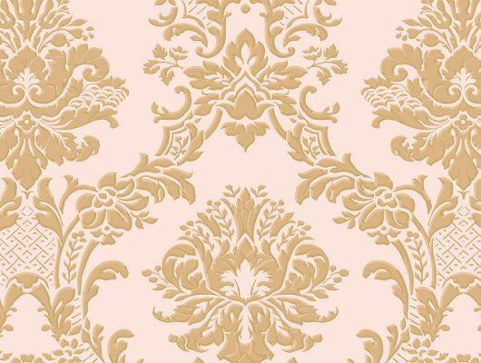 Виниловые обои на бумажной основе напечатаны методом горячего тиснения. Обои металлизированы и имитируют шелковое сияние. Арт.№ 36406 - классический узор широко известных дамассков в масштабе средних размеров и золотом цвете на нежном розовом фоне. Обои для квартиры, обои на стену, классические обои., Silks & Textures II, Обои для гостиной