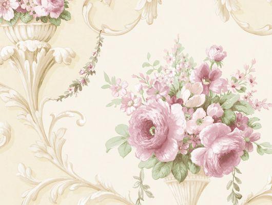 Виниловые обои на бумажной основе напечатаны методом горячего тиснения. Обои металлизированы и имитируют шелковое сияние. Арт.№ 36422 представляет собой интересное сочетание паттерна из классических вензелей с растительным орнаментом и пышных цветов в затейливых вазах. ООбои в гостиную, стильные обои, ассортимент, Silks & Textures II, Обои для гостиной, Обои для спальни
