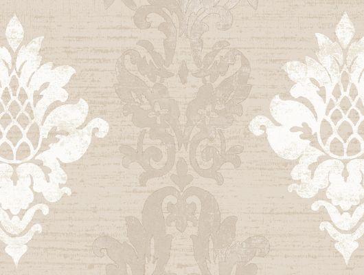 Виниловые обои на бумажной основе напечатаны методом горячего тиснения. Обои металлизированы и имитируют шелковое сияние. Арт.№ 36425 - классический узор широко известных дамасков в масштабе средних размеров и бежевом цвете, на фоне имитирующем штукатурку. Обои для квартиры, обои на стену, классические обои., Silks & Textures II, Обои для гостиной