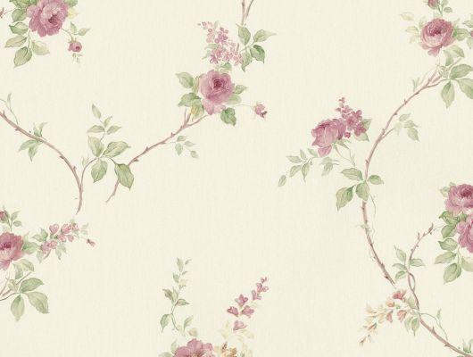 Виниловые обои на бумажной основе напечатаны методом горячего тиснения. Обои металлизированы и имитируют шелковое сияние. Арт.№ 29401 - растительный орнамент с изображением цветов розы в сиреневом и зеленом цвете на светло - розовом фоне. Обои для квартиры, обои на стену, классические обои., Silks & Textures II, Обои для гостиной, Обои для спальни