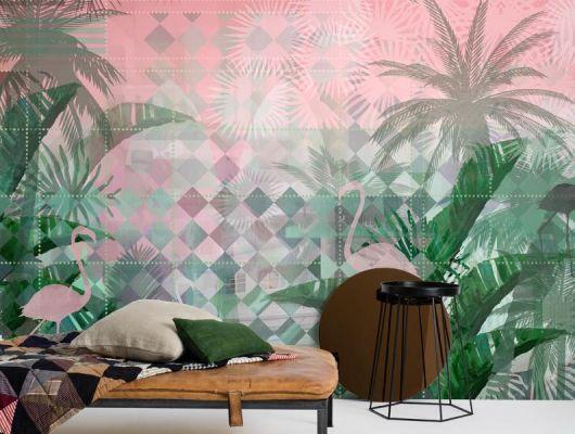 Фото интерьера с обоями Miami Deco от Mr Perswall. Дизайн обоев — большие банановые и пальмовые листья ручной прорисовки на фоне графического узора в стиле ар-деко., Flowers & Aquarelle, Индивидуальное панно, Фотообои