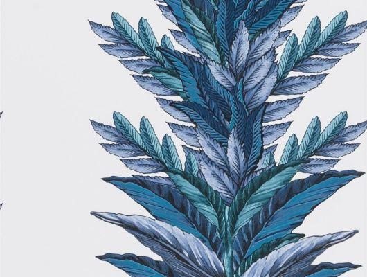 Обои 1004/02, с синим растительным орнаментом на фоне белого цвета в каталоге Christian Lacroix, Au theatre ce soir, Обои для гостиной, Обои для кабинета, Обои для спальни