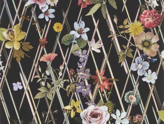 Обои Rocaille с стильным цветочным оранментом, среди косых линий на черном фоне с доставкой до вашего дома, Au theatre ce soir, Обои для гостиной, Обои для кабинета, Обои для кухни, Обои для спальни