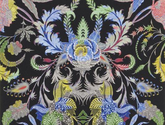 Яркие обои Noailles от Christian Lacroix с цветочным дамаском на черном фоне для оформления гостиной или спальни., Au theatre ce soir, Обои для гостиной, Обои для кабинета, Обои для спальни