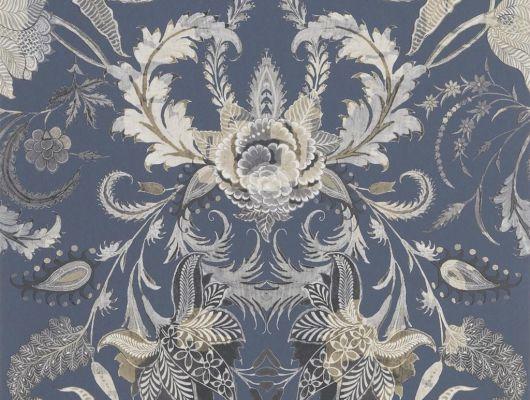 Обои PCL1007/04 с цветочным дамаском на серо-синем форне с доставкой до подъезда., Au theatre ce soir, Обои для гостиной, Обои для кабинета, Обои для спальни