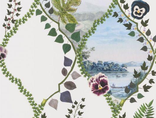 Изящное воплощение стелящихся побегов плюща и цветущих анютиных глазок, форму которым придает трельяжная решетка, на белом фоне представляет собой серию безмятежных ландшафтов - взгляд в уникальный мир Christian Lacroix изображенный на дизайнерских обоях из Великобритании, Histoires Naturelles, Обои для гостиной, Обои для спальни