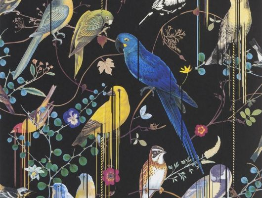 Флизелиновые обои от Christian Lacroix  PCL7017/01 с символичным рисунком из экзотических птиц и растений, на черном фоне, с графичными линиями, для создания глубины и иллюзии движения, с доставкой до дома, Histoires Naturelles, Обои для гостиной