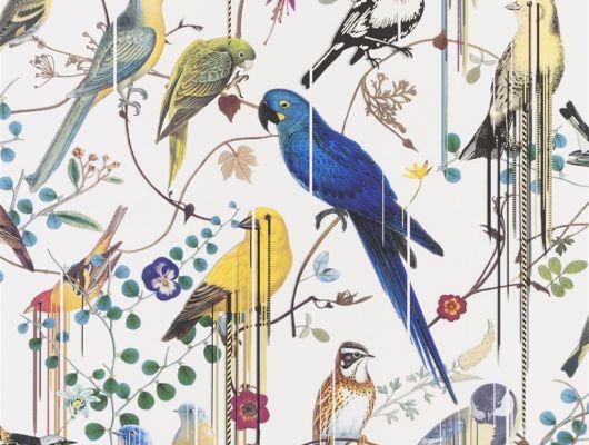 Флизелиновые обои от Christian Lacroix  PCL7017/02 с символичным рисунком из экзотических птиц и растений, на белом фоне, с графичными линиями, для создания глубины и иллюзии движения, с доставкой до дома, Histoires Naturelles, Обои для гостиной