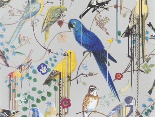 Флизелиновые обои от Christian Lacroix Birds Sinfonia с символичным рисунком из экзотических птиц и растений, на светло-сером фоне, с графичными линиями, для создания глубины и иллюзии движения, с доставкой до дома, Histoires Naturelles, Обои для гостиной, Обои с цветами