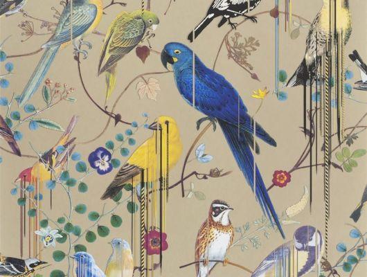 Дизайнерскиеобои от Christian Lacroix Birds Sinfonia с символичным рисунком из экзотических птиц и растений, на желтом фоне, с графичными линиями, для создания глубины и иллюзии движения, с доставкой до дома, Histoires Naturelles, Обои для гостиной