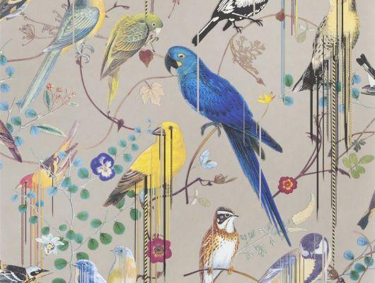 Флизелиновые обои от Christian Lacroix  PCL7017/05 с символичным рисунком из экзотических птиц и растений, на бронзовом, с графичными линиями, для создания глубины и иллюзии движения, в каталоге от производителя, Histoires Naturelles, Обои для гостиной, Обои для спальни
