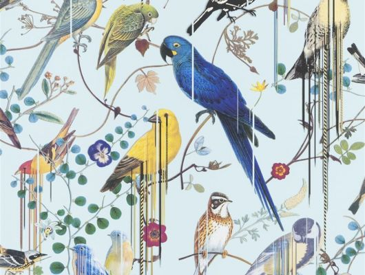 Флизелиновые обои от Christian Lacroix  PCL7017/06 с символичным рисунком из экзотических птиц и растений, на голубом фоне, с графичными линиями, для создания глубины и иллюзии движения, с доставкой до дома, Histoires Naturelles, Обои для гостиной
