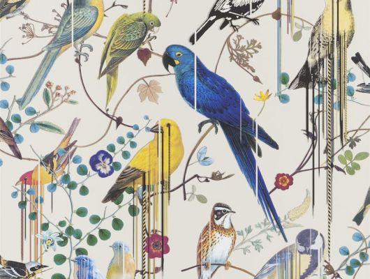 Обои для акцентной стены от Christian Lacroix  PCL7017/07 с символичным рисунком из экзотических птиц и растений, на молочном фоне, с графичными линиями, для создания глубины и иллюзии движения, с оплатой онлайн, Histoires Naturelles, Обои для гостиной, Обои для спальни