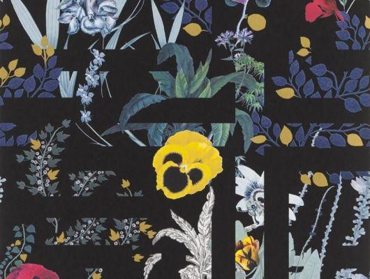 Переплетенные между собой ботанические узоры и графические линии на черном фоне создают воплощение шикарного стиля Christian Lacroix отраженного на флизелиновых обоях Primavera Labyrinthum для дома, Histoires Naturelles, Обои для гостиной