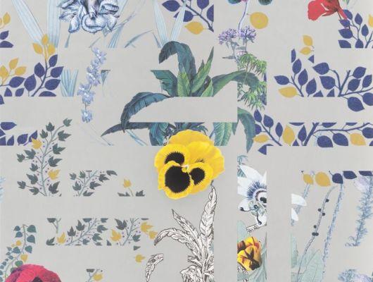 Переплетенные между собой ботанические узоры и графические линии на серебряном фоне создают воплощение шикарного стиля Christian Lacroix отраженного на флизелиновых обоях PCL7018/03 для стен, Histoires Naturelles, Обои для гостиной