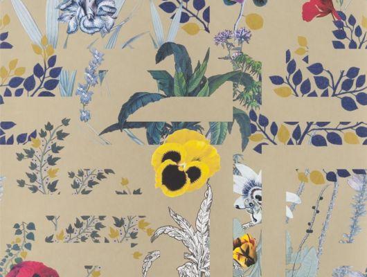 Переплетенные между собой ботанические узоры и графические линии на золотом фоне создают воплощение шикарного стиля Christian Lacroix отраженного на флизелиновых обоях Primavera Labyrinthum для квартиры, Histoires Naturelles, Обои для гостиной