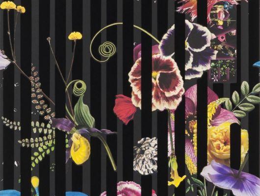 Приобрести в интернет магазине живописные обои Babylonia Nights Soft с изображениями экзотических цветов и растений, которые превращаются в прекраснейшую панораму сада с наложенными яркими черными линиями из черного флока, подчеркивающими неповторимость стиля Christian Lacroix., Histoires Naturelles, Обои для гостиной, Обои с цветами, Флоковые обои
