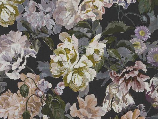Дизайнерские обои флизелиновые Designers guild - Tulipa Stellata.Арт. PDG1033/01. Акварельный цветы на угольном фоне.Заказать с доставкой в Москве.Обои в спальню,гостиную, Tulipa, Обои для гостиной, Обои для спальни