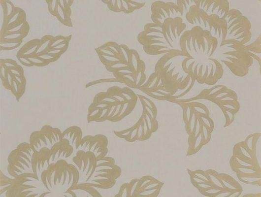 Купить Флизелиновые обои для спальни, дизайн Berettino арт. PDG1020/03 из коллекции Majolica от Designers guild с золотыми цветами на коричневом фоне в интернет-магазине., Majolica, Обои для гостиной, Обои для спальни