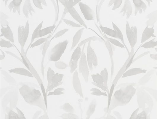 Купить Обои для гостиной, дизайн Patanzzi арт. PDG1023/02 из коллекции Majolica от Designers guild с листьями бежевого цвета на белом фоне,в интернет-магазине., Majolica, Обои для гостиной, Обои для кухни, Обои для спальни