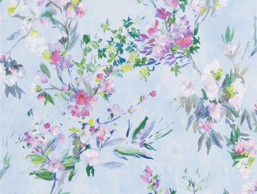 Подобрать Обои для спальни, дизайн Faience арт. PDG1024/01 из коллекции Majolica от Designers guild с цветами на голубом фоне,в каталоге..В интерьере, Majolica, Обои для гостиной, Обои для спальни