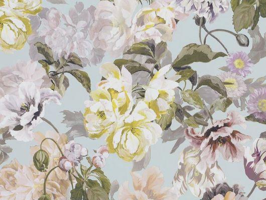 Дизайнерские обои флизелиновые Designers guild - Tulipa Stellata.Арт. PDG1033/04. Акварельный цветы на голубом фоне.Заказать с доставкой в Москве.Обои в спальню,гостиную, Tulipa, Обои для гостиной, Обои для спальни