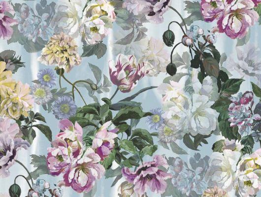 PDG1038/03 Панно флизелиновое Designers guild - Tulipa Stellata.Купить с доставкой в Москве.Растительный узор на голубом фоне в интерьере. Для гостиной.Обои в квартиру., Tulipa, Обои для гостиной, Обои для спальни