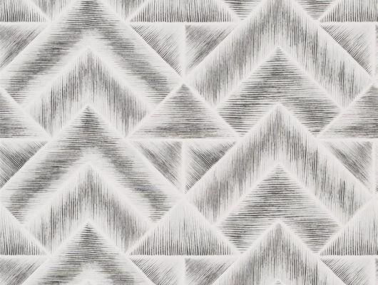 Обои для прихожей арт. PDG1049/01  из коллекции Mandora от Designers Guild, Великобритания с современным геометрическим принтом в стиле ар-деко в черно-белом цвете. Оформить заказ на сайте Odesign, онлайн оплата, Mandora, Обои для гостиной, Обои для кабинета