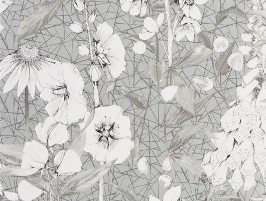 Купить обои для гостиной арт. PDG1050/04  из коллекции Mandora от Designers Guild, Великобритания с растительным принтом  белого цвета на серебристом фоне в интернет-магазине Odesign, онлайн оплата, бесплатная доставка, Mandora, Обои для кухни, Обои для спальни
