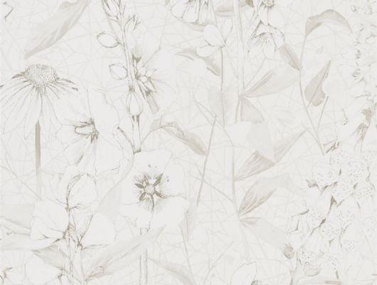 Купить обои для гостиной арт. PDG1050/07  из коллекции Mandora от Designers Guild, Великобритания с растительным принтом белого цвета с серебристым контуром на белом фоне в интернет-магазине  Odesign, онлайн оплата, бесплатная доставка, Mandora, Обои для гостиной, Обои для кухни, Обои для спальни