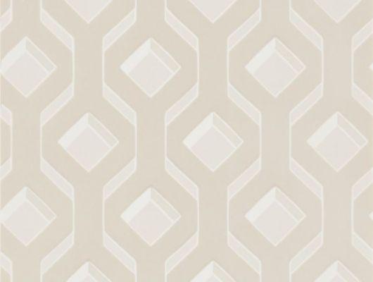 Флоковые обои в гостиную арт. PDG1053/01  из коллекции Mandora от Designers Guild, Великобритания с современным геометрическим рисунком молочного цвета на серебристом фоне. Заказать в салоне обоев в Москве, большой ассортимент, бесплатная доставка, Mandora, Обои для гостиной, Обои для спальни