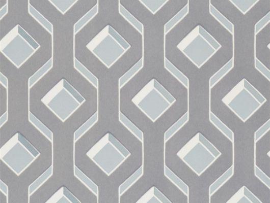 Флоковые обои в детскую арт. PDG1053/02  из коллекции Mandora от Designers Guild, Великобритания с современным геометрическим рисунком серо-голубого цвета на голубом фоне. Купить на сайте Odesign, онлайн оплата, Mandora, Обои для гостиной, Обои для спальни