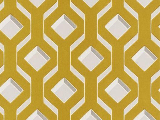 Заказать обои в гостиную арт. PDG1053/04  из коллекции Mandora от Designers Guild, Великобритания с современным геометрическим рисунком желто-горчичного цвета на сером фоне в шоу-руме  Одизайн, большой ассортимент, Mandora, Обои для гостиной, Обои для спальни