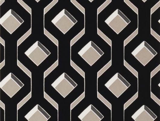 Флоковые обои для ремонта квартиры арт. PDG1053/05  из коллекции Mandora от Designers Guild, Великобритания с современным геометрическим принтом  черного цвета на золотом фоне.  Приобрести в интернет-магазине  Одизайн, онлайн оплата, Mandora, Обои для гостиной, Обои для спальни