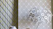 Флоковые обои в гостиную арт. PDG1053/01  из коллекции Mandora от Designers Guild, Великобритания с современным геометрическим рисунком молочного цвета на серебристом фоне. Заказать в салоне обоев в Москве, большой ассортимент, бесплатная доставка