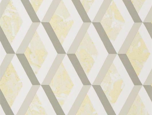 Купить обои в спальню арт. PDG1054/03  из коллекции Mandora от Designers Guild, Великобритания с современным геометрическим принтом в виде ромбов цвета шампанского на желтом фоне в салоне обоев Одизайн в Москве, Mandora, Обои для гостиной, Обои для кабинета, Обои для кухни