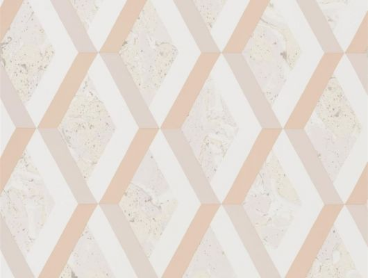 Обои в коридор арт. PDG1054/04  из коллекции Mandora от Designers Guild, Великобритания с современным геометрическим принтом в виде ромбов припыленного розового и лососевого цвета. Заказать   на сайте Odesign в Москве, бесплатная доставка, Mandora, Обои для гостиной, Обои для кухни