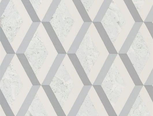 Обои в столовую арт. PDG1054/06  из коллекции Mandora от Designers Guild, Великобритания с современным геометрическим принтом в виде ромбов в серо-голубых тонах. Приобрести обои в шоу-руме Одизайн в Москве, широкий ассортимент, Mandora, Обои для гостиной, Обои для кабинета, Обои для кухни