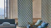 Купить обои в гостиную арт. PDG1054/08  из коллекции Mandora от Designers Guild, Великобритания с современным геометрическим принтом в виде ромбов в сине-зеленых цветах  в салоне обоев Одизайн в Москве, большой ассортимент