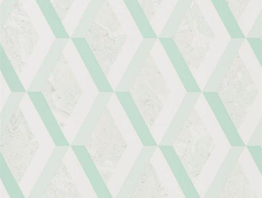 Английские обои в прихожую арт. PDG1054/07  из коллекции Mandora от Designers Guild, Великобритания с современным геометрическим принтом в виде ромбов в зеленых оттенках. Оформить заказ обоев на сайте Odesign, онлайн оплата, Mandora, Обои для гостиной, Обои для кабинета, Обои для кухни