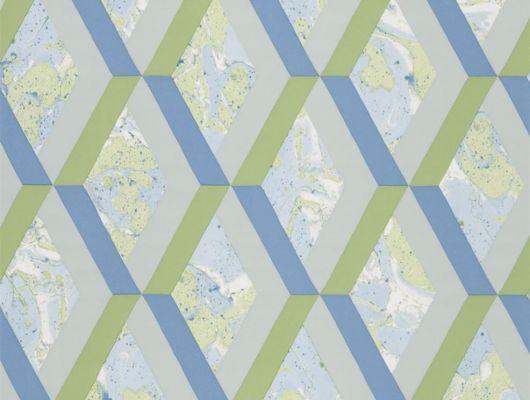 Купить обои в гостиную арт. PDG1054/08  из коллекции Mandora от Designers Guild, Великобритания с современным геометрическим принтом в виде ромбов в сине-зеленых цветах  в салоне обоев Одизайн в Москве, большой ассортимент, Mandora, Обои для гостиной, Обои для кухни