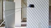 Обои для гостиной арт. PDG1049/08  из коллекции Mandora от Designers Guild, Великобритания с современным геометрическим принтом в стиле ар-деко в светло-зеленом цвете. Приобрести в шоу-руме Одизайн в Москве, большой ассортимент