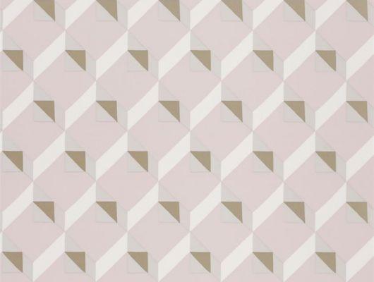Фирменные обои в столовую арт. PDG1055/03  из коллекции Mandora от Designers Guild, Великобритания с современным геометрическим принтом  в розово-золотистых тонах. Купить  в шоу-руме  Одизайн, онлайн оплата, бесплатная доставка, Mandora, Обои для гостиной, Обои для спальни