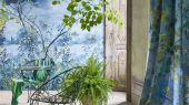 Фотопанно для спальни арт. PDG1057/01  из коллекции Mandora от Designers Guild, Великобритания с изображением пейзажа в сине-голубых оттенках. Купить в салоне обоев  Одизайн, онлайн оплата, бесплатная доставка
