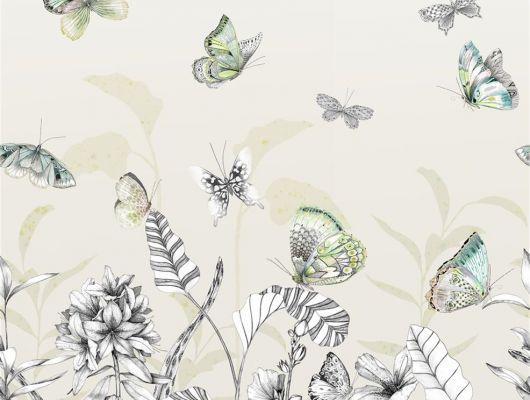 Фотопанно арт. PDG1058/01  из коллекции Mandora от Designers Guild, Великобритания с изображением растений и бабочек в желто-зеленых оттенках. Заказать в шоу-руме  Одизайн, онлайн оплата, бесплатная доставка, Mandora, Обои для гостиной, Обои для спальни