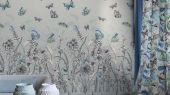 Фотопанно арт. PDG1058/02  из коллекции Mandora от Designers Guild, Великобритания с изображением растений и бабочек в сине-зеленых оттенках. Заказать в шоу-руме  Одизайн, широкий ассортимент