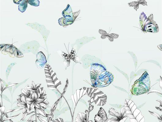 Фотопанно арт. PDG1058/02  из коллекции Mandora от Designers Guild, Великобритания с изображением растений и бабочек в сине-зеленых оттенках. Заказать в шоу-руме  Одизайн, широкий ассортимент, Mandora, Обои для гостиной, Обои для спальни
