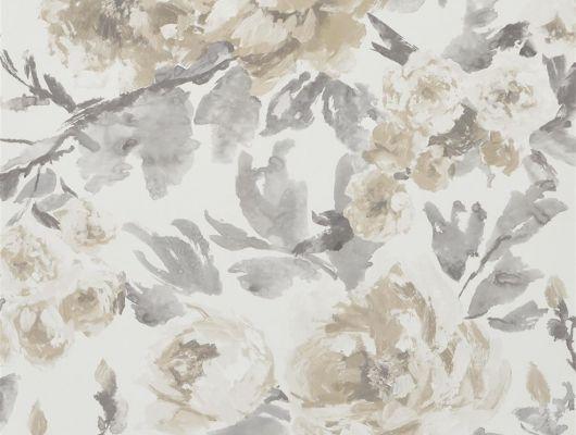Английские обои для спальни с доставкой по России, арт. PDG649/04  из коллекции Shanghai Garden от Designers Guild, Великобритания с цветочным рисунком пионов  в серо-бежевых тонах  на белом фоне., Shanghai Garden, Обои для гостиной, Обои для спальни